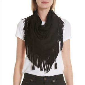 NWT Saint Laurent Black Suede Fringe Scarf